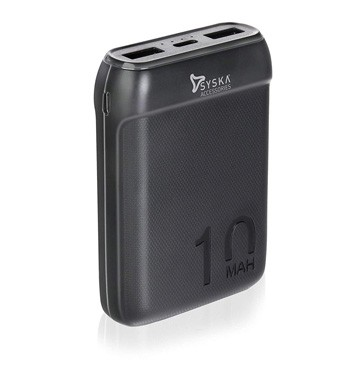 Syska 10000 mAh Li-Polymer P1016B Power Pocket100 Power Bank